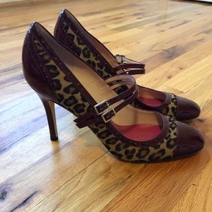 RARE Kate Spade maroon leather leopard print heels